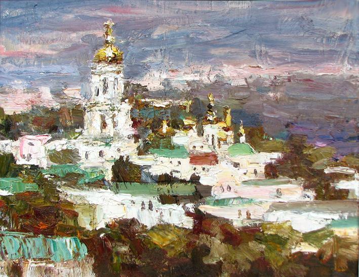 Мария Найдёнова, Зимняя Лавра, холст масло
