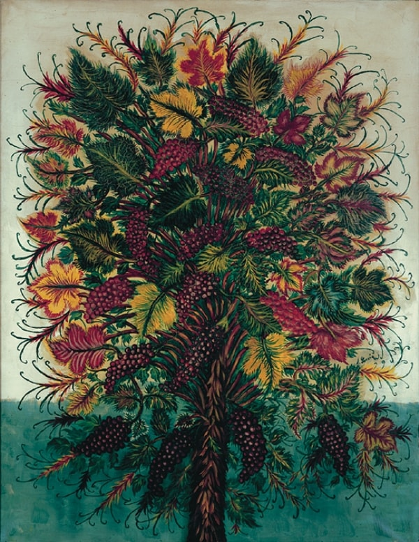 Цветы на картине художницы-примитивистки Серафины