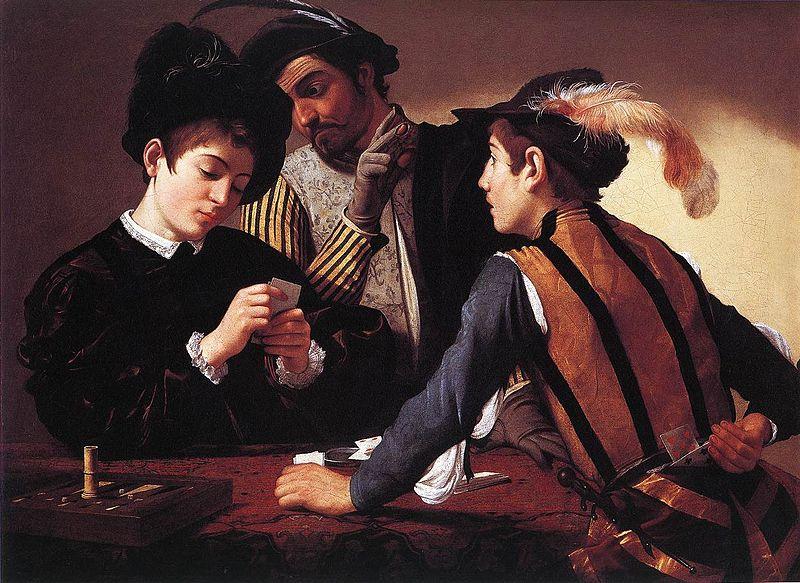 """Микеланджело Караваджо """"Шулеры"""", холст/масло, 90 х 112см, Музей Кимбелла, Форт Уорт, 1596 год"""