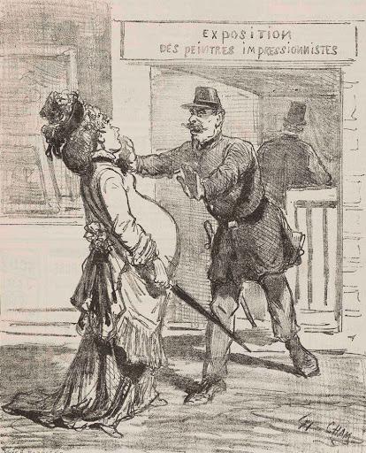 Карикатура из парижской газеты 1874 года, с полецейским, не пускающим беременную на выставку импрессионистов.