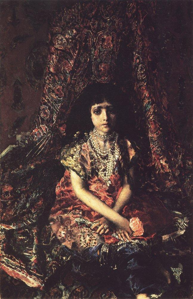 Девочка на фоне персидского ковра, Михаил Врубель